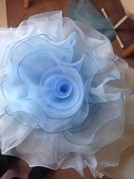 オーガンジーコサージュ ドレス製作
