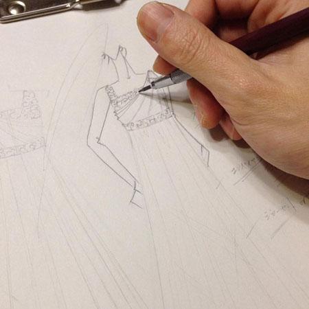 演奏会ドレス ピアノのコンクール デザイン画