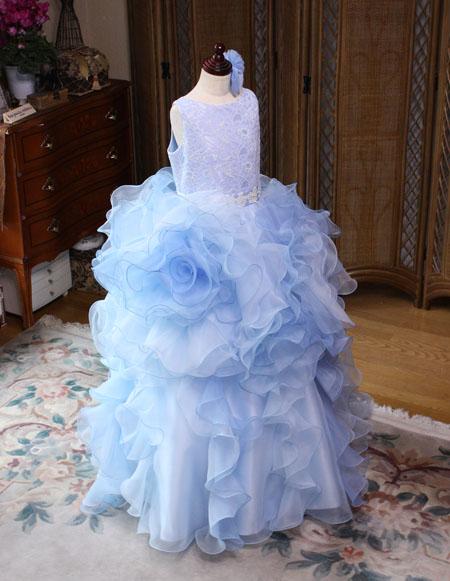 子供用発表界ドレス ブルー