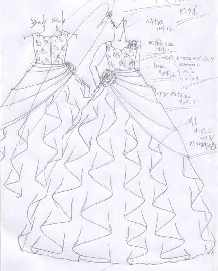 デザイン画 発表会ドレス