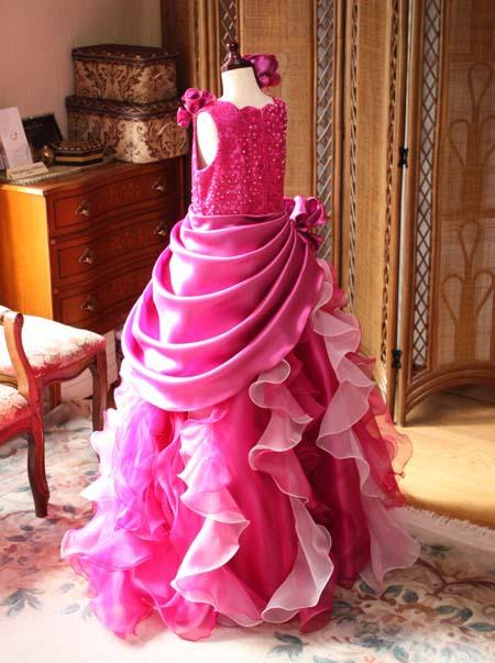 チェリーピンク 子供用ドレス シルエット