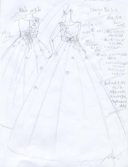 ピアノの発表会ドレス制作 デザイン画