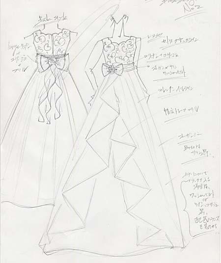 コンクールドレスのデザイン画。東京のお客様デザイン
