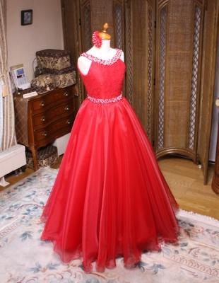 ピアノの発表会ドレス 中学生サイズドレス レッド