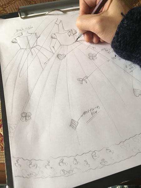 お子様のイラストを基にドレス製作