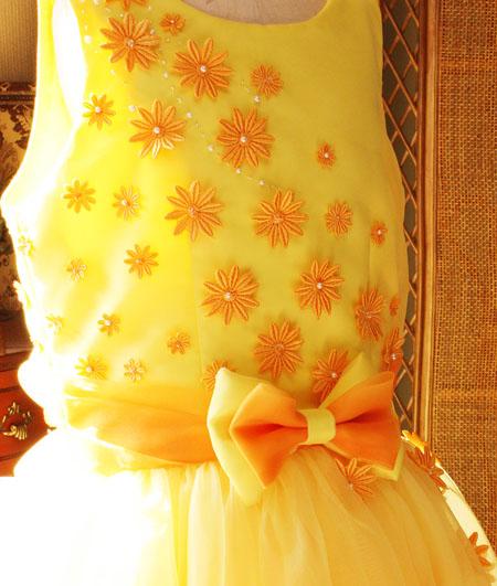 ピアノのコンツェルト用ドレス イエロー