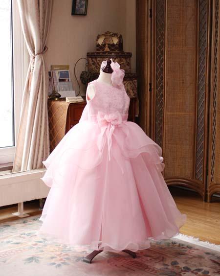 ピアノの受賞コンサートドレス サーモンピンク 横浜市のお子様ドレス サーモンピンク