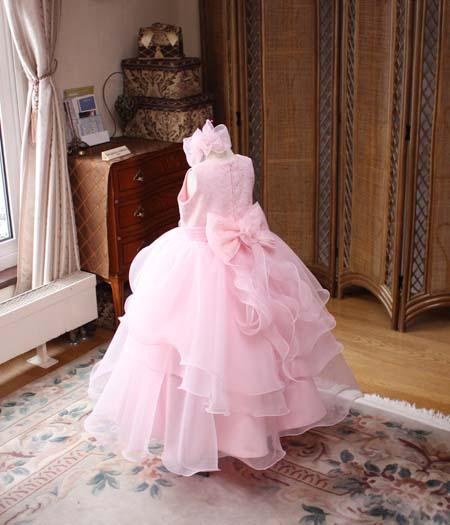 子供用ピアノの演奏会ドレス サーモンピンク 115cmサイズ