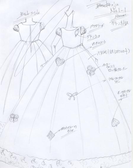子供用ピアノの演奏会ドレス デザイン画 埼玉県のお子様用