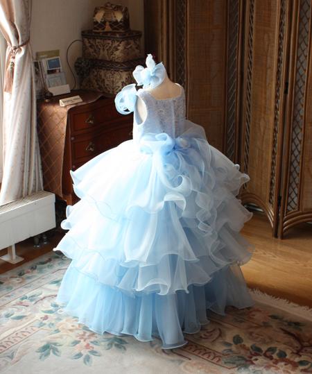 ピアノ用ドレス 子供用ドレス ブルー オーダーメイド