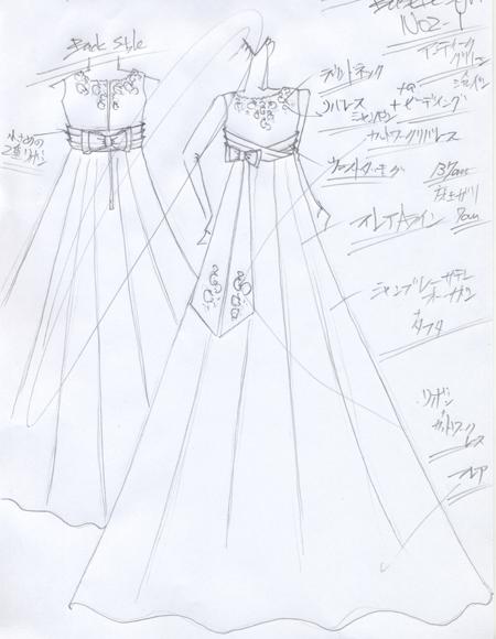 ピアノのコンクールドレス 高知県のお客様ドレスデザイン