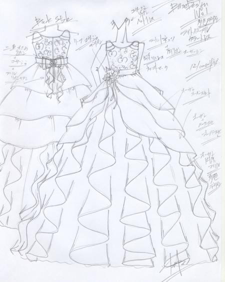 コンペティションドレス 子供用ピアノのコンクールドレス  パープル構成 デザイン画