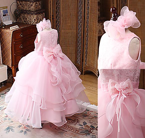 The Rabbit Closet RBD070ドレス サーモンピンク ピアノやバイオリン用の子供ドレス