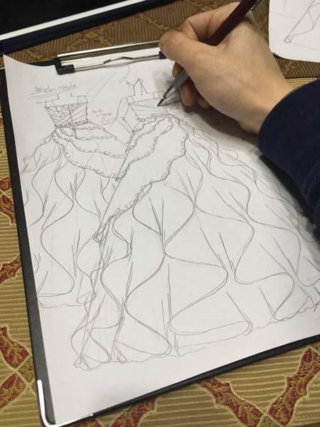 ヴァイオリン ドレスのデザイン画 153cmサイズ 札幌市の中学生ドレス