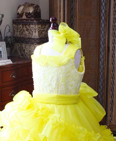 黄色の子供用ドレス スクエアーネック