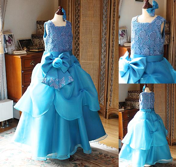 ブルーのAラインドレス 発表会やコンクール用ドレス