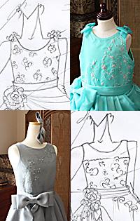 ジュニアサイズドレス デザイン ラウンドネック