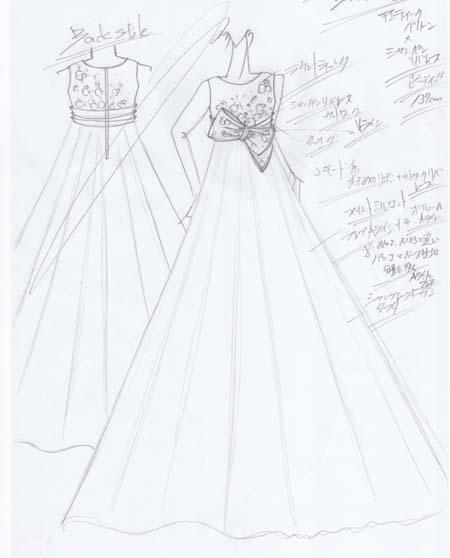 バイオリンドレス 小学生 ドレス製作とデザイン画