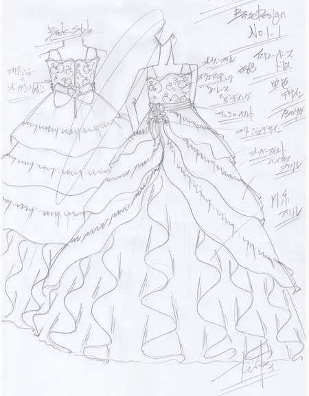 最終決定したドレスのデザインを制作