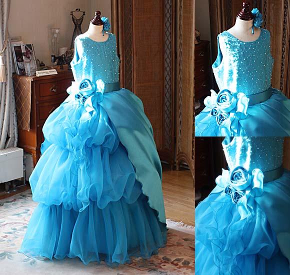 ピアノの発表会ドレス 小学生 ターコイズブルーのドレス