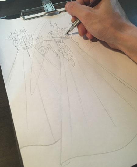ピアノ コンクールドレス  大分県のお客様に描いたドレス
