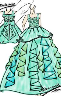 エメラルドグリーンの子供用の発表会ドレスを立案。ピアノを演奏する小学生