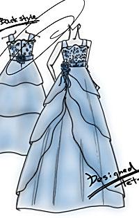 北海道の岩見沢市にお住いのお子様にドレスを制作 デザイン画を描きグラデーションブルーのドレスをデザイン