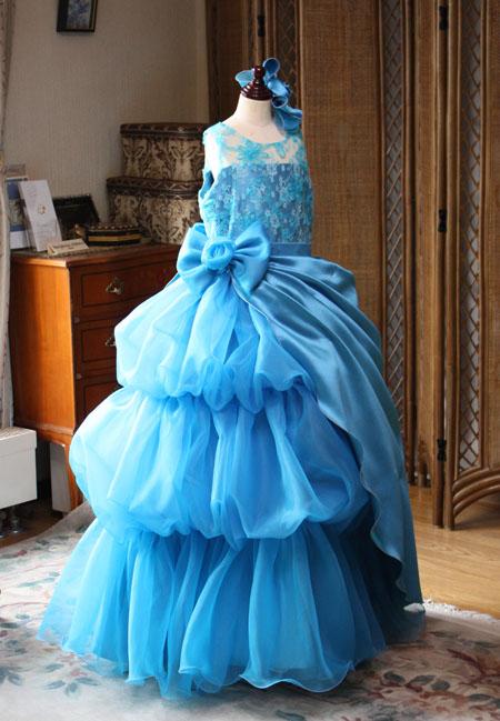 アシンメトリー バルーンスカート ティアードスカートドレス