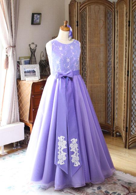 ピアノのコンクールと発表会ドレス パープルカラードレス