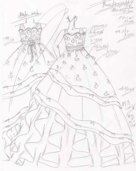 ピアノ用のコンクールドレスと受賞者コンサート用ドレスのデザイン画