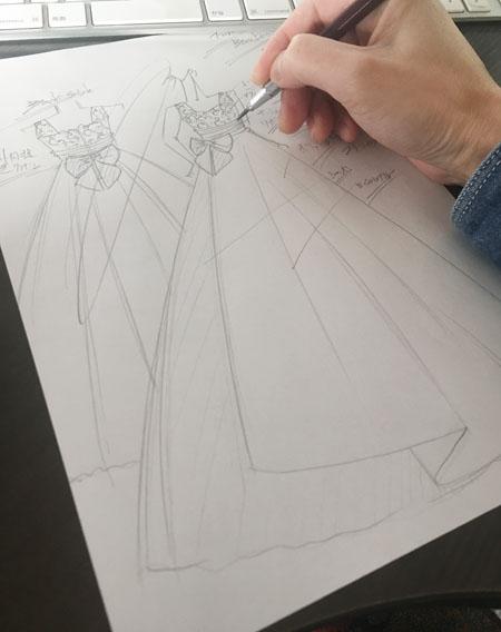 ピアノのコンクールドレスのデザイン画 神奈川県のお客様からオーダーメイドドレスのご注文