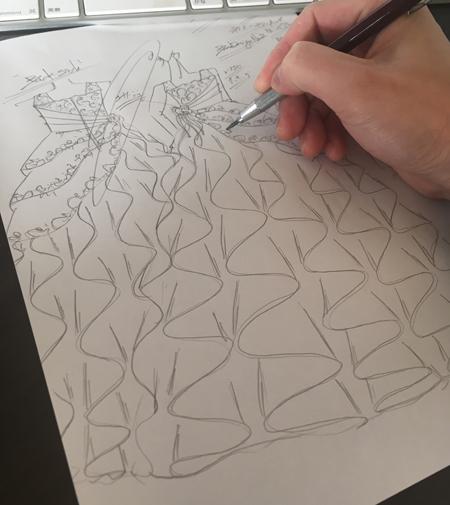 ピアノの演奏会ドレス デザイン画