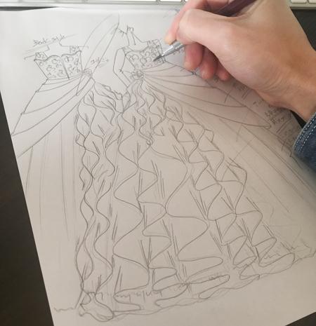 ピアノのコンチェルト用ドレス制作 デザイン画
