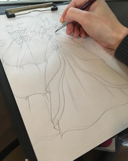 国際シュロスピアノコンチェルト用ドレス デザイン画