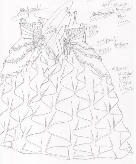 ピアノの演奏会用ドレスのデザイン