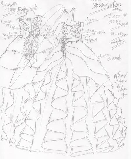 福岡県の小学生に描いたピアノのコンチェルトドレスのデザイン画