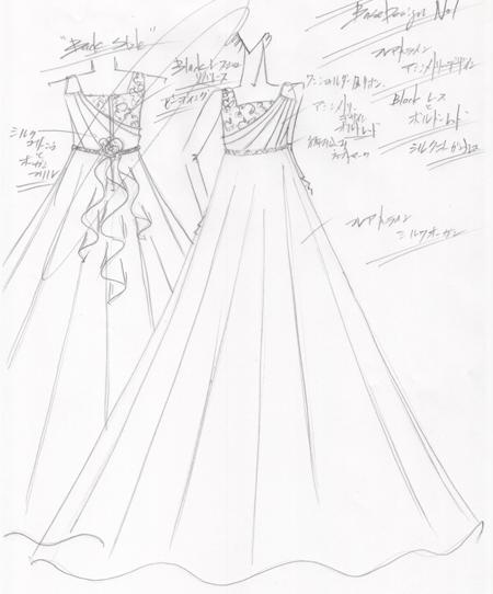 大分県の小学生にロング丈コンクールドレスをデザイン
