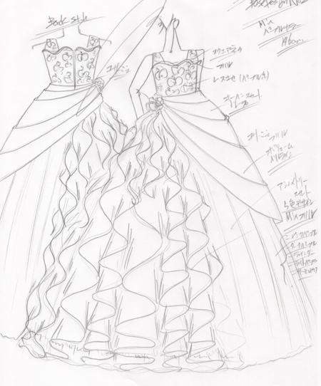 ピアノのコンチェルトドレスの制作とデザイン画