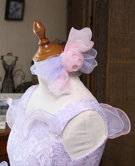 大きめのヘッドドレス コサージュリボン コンチェルト用に髪飾りを制作