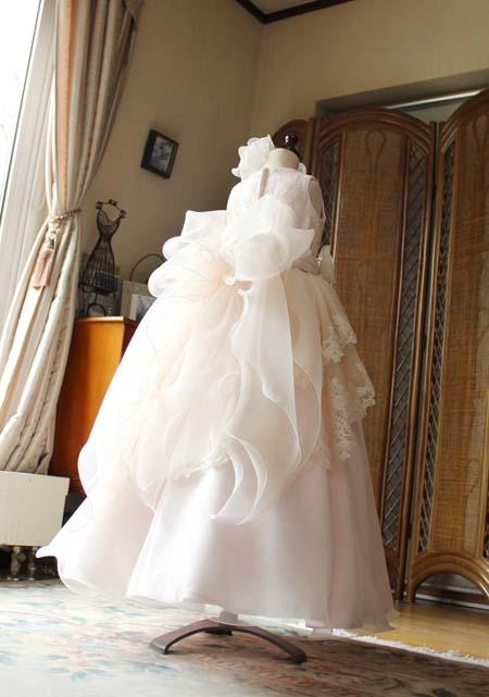 ボリュームのあるティアードスカート 110cmサイズドレス
