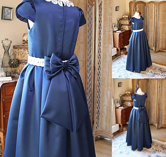 ポイントデザイン ロングスカートのドレス ネイビー