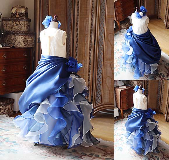 フリルデザインとドレープスタイルのオーバースカート