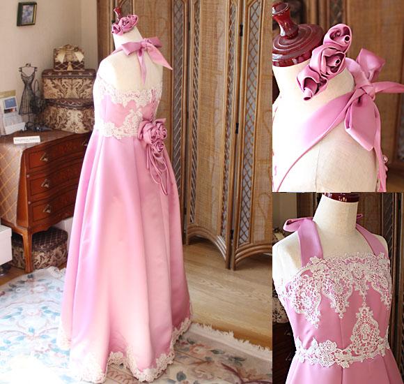 上半身とバックスタイルの詳細 繊細なハンドメイドで創り上げたドレス