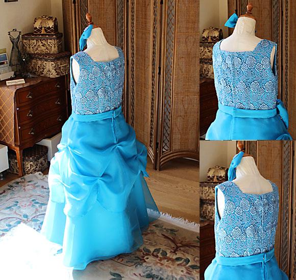 ピアノやバイオリンのドレス デザイン詳細とバックスタイル