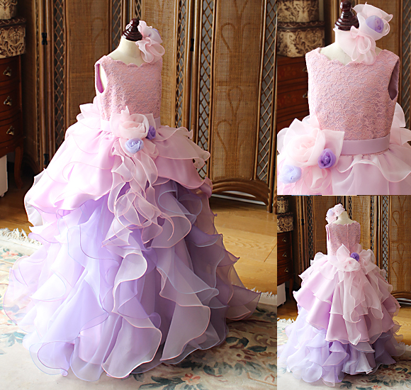 ピアノのコンサートドレス ピンクとパープル ジュニアサイズ