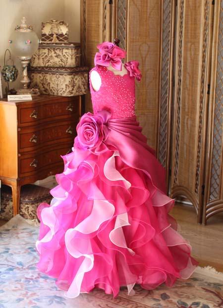 ピアノのコンサートドレス ピンク セミオーダー