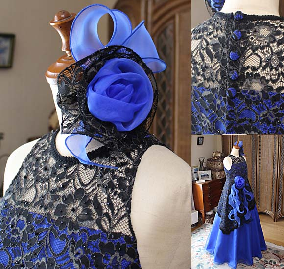 モードのように華やかなヘッドドレスと繊細なディテールデザインの詳細