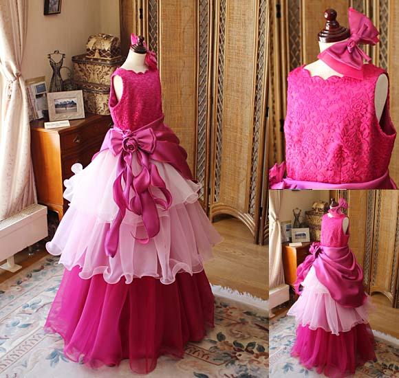 チェリーピンクのロングドレス
