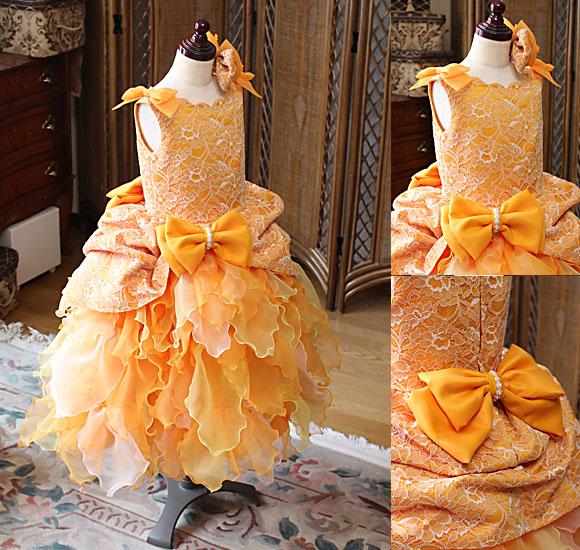 受賞者コンサートドレス オレンジ 小学生