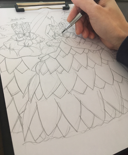 ピアノの受賞者記念コンサートドレス デザイン画の立案